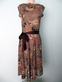 Vintage style 1920's Flapper Style Floral Dress S by LaveneRose, $55.00