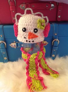 Snowman with Pink, Lime Green Scarf & pink earmuffs, photo prop, newborn to 3 months, baby crocheted hat for Christmas. $35.00, via Etsy.