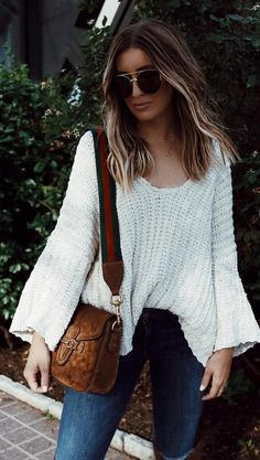 #fall #outfits  White Knit + Camel Shoulder Bag + Skinny Jeans