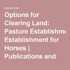 Options for Clearing Land: Pasture Establishment for Horses   Publications and Educational Resources   Virginia Tech