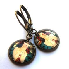 Alphonse Mucha Earrings Art Nouveau Valentines Day Glass and