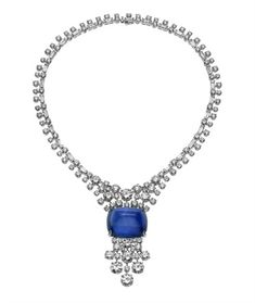 Bulgari sugarloaf sapphire and diamond necklace