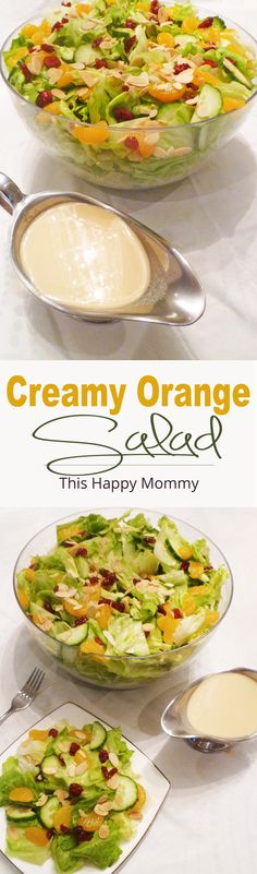 Creamy Orange Salad -- Crisp lettuce with sweet and creamy orange dressing, mandarin orange slices, cucumbers, dried cranberries and roasted almonds. | thishappymommy.com