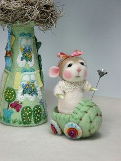 Dressed Mouse/Bunny Class  Needle Felting Class to create BOTH the Bunny and Mouse By Barby Anderson (Kit Available and sold separately). $45.00, via Etsy.