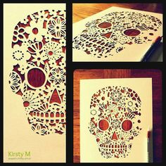 Hand cut Skull paper cut by KirstyMason on Etsy