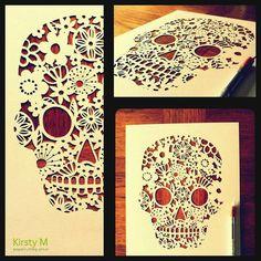 Hand cut Skull paper cut by KirstyMason on Etsy