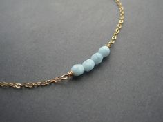Gold Necklace - Coral - Blue  - Tiny - Minimal.