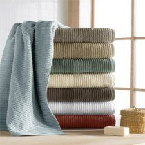 CassaDecor Set of 6 Combed Long Staple Turkish Cotton Ribbed Towels Bath Towels, 2 Hand Towels and 2 Wash Cloths) - Urbane by Kassatex, Spa Blue Egyptian Cotton Towels, Turkish Cotton Towels, Bathroom Towels, Bath Towels, Small Bathroom, Bathroom Ideas, Bathroom Storage, Shower Ideas, Construction Crafts