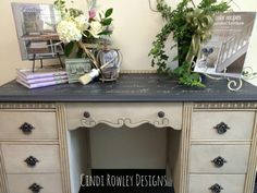 Cindi Rowley Designs created this desk with Chalk Paint ® and Royal Design stencils. Colors: Old White, Paris Grey and Graphite Waxes: Clear and Dark