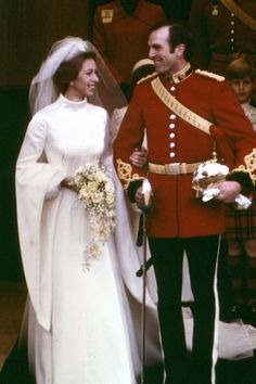 Princess Anne marries Captain Mark Phillips at Westminster Abbey in London. Iconic Royal Weddings Dresses & Photos (Vogue.com UK) (Vogue.com UK)