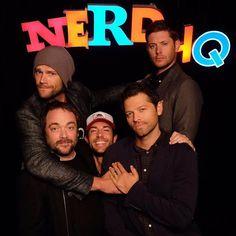 "@jensenackles @jaredpadalecki @misha @realmarksheppard via @ericblackmon on Twitter ""#Supernatural shenanigans. #NerdHQ @cw_supernatural"" #jensen #jensenackles #ackles #ackleholic #ackleholics #acklesholic #spn #spnfan #spnfans #spnfandom #spnfamily #supernatural #supernaturalfamily"
