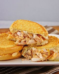 We're fans of buffalo chicken and buffalo chicken dip, but have you ever tried it in a grilled cheese? Hot sauce, ranch dressing, shredded chicken, and three types of cheese make for a very cheesy toastie, indeed. Source: The Kitchen Life of a Navy Wife