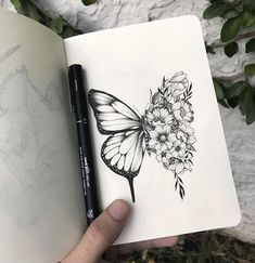 Our Website is the greatest collection of tattoos designs and artists. Find Inspirations for your next Tattoo . Search for more Butterfly Tattoo designs. Pencil Art Drawings, Art Drawings Sketches, Tattoo Drawings, Body Art Tattoos, Tatoos, Tattoos To Draw, Sketches Of Nature, Easy Nature Drawings, Drawing Designs