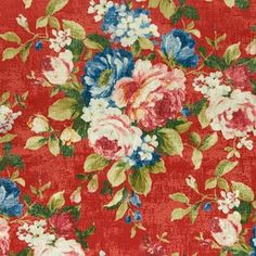 4 Emeline Rouge by Clarke and Clarke Fabric Colony Cotton / Viscose SPAIN Martindale Cycles H: inches, V: inches 55 inches - Fabric Carolina - Clarke And Clarke Fabric, The Rouge, Fabric Houses, Drapery Fabric, Floral Upholstery Fabric, Red Fabric, Fabric Patterns, Rose Patterns, Floral Patterns