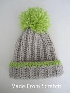 Slouchy pom pom beanie, free crochet pattern. #free #crochetpattern #beanie