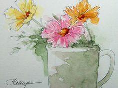 Cosmos Floral Watercolor Painting Original ACEO