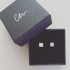 Square Earrings Stud Sterling Silver  Studs Earring set minimal shape trend jewellery jewelry Yellow Gold 9ct Rose Gold by ChristinaMadeIt on Etsy https://www.etsy.com/uk/listing/204546809/square-earrings-stud-sterling-silver