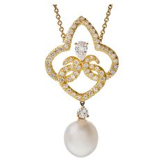 HENRY DUNAY South Sea Pearl Diamond Yellow Gold Pendant Necklace