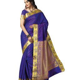 Buy Blue embroidered art silk saree with blouse kanchipuram-silk-saree online