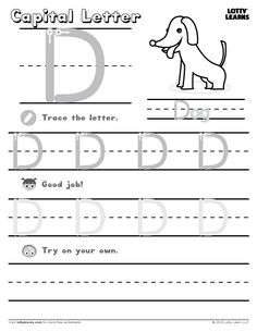 Free downloadable alphabet worksheets for preschoolers at LottyLearns.com!  Learn to write the capital letter A. Follow the numbers from 1 to 3 for the correct steps. Try to stay inside the lines and then write the letters all on your own!