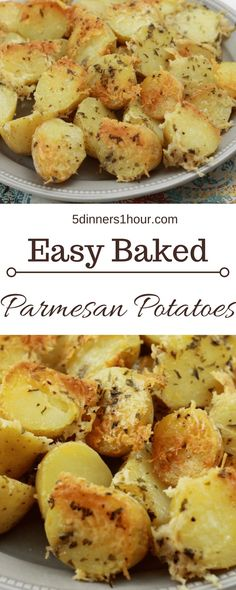 Baked sliced petite yellow potatoes, topped with shredded parmesan cheese served on a plate. Baked s Potato Recipes, Vegetable Recipes, Vegetable Ideas, Scones Ingredients, Parmesan Potatoes, Mashed Potatoes, Side Dishes, Veg Dishes, Potato Dishes