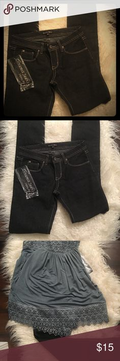 NWT black boutique denim jeans 1/2 NWT denim jeans, skinny fit black with white stitching. To small for me, my loss your gain. Brand Dinamit Jean Co. soft lightweight jean. Jeans Skinny
