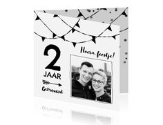 Vierkant dubbele kaart uitnodiging jubileum trouwen