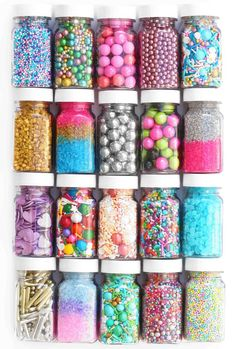 Vegan sprinkles come in all shapes and sizes! We specialize in jaw-dropping, crunchy, sweet, sparkly sprinkle blends. Sixlets Candy, Lolly Jars, Candy Theme Birthday Party, Candy Room, Nectar And Stone, Fancy Sprinkles, Cake Logo Design, Homemade Slime, Edible Glitter