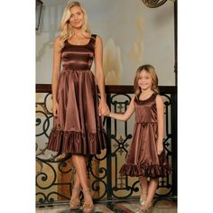 c8c9e910e8 Chocolate Brown Charmeuse Fit & Flare Ruffle Midi Mommy and Me Dress