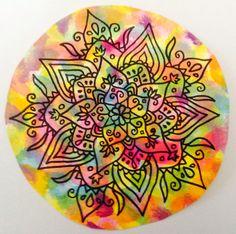 Mandala en colores Zentangle, Rocks, Doodles, Tableware, How To Make, Mandalas, Colors, Dinnerware, Zentangle Patterns