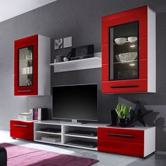 🌟 💖 🌟 💖 EEK A+, wall-to-wall Motley II - including lighting - high gloss Red / White, lofts Cape Now furniture order. Living Room Tv, Living Room Tv Unit Designs, Red Living Room Decor, Home Room Design, Living Room Design Modern, Living Room Designs, Tv Wall Design, Tv Room Design, Wall Tv Unit Design