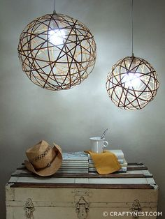 DIY your own gorgeous Orb Pendant Lights. These bamboo orb pendant lights were inspired by the Cassiopeia chandelier on the cover of House Beautiful.  I made my own version using bamboostrips from an inexpensive bamboo roman shade from Home Depot...