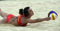 London Olympics Beach Volleyball Women    Elsa Baquerizo of Spain digs out a ball during a beach volleyball match against the United States at the 2012 Summer