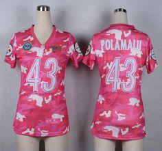 Nike Pittsburgh Steelers Jersey 43 Troy Polamalu 2014 Salute to Service Pink Camo Womens Jerseys