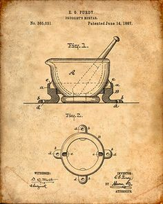 Mortar and Pestle Patent Print - Patent Art Print - Pharmacy Art Pharmacist Doctor Physician Medical Apothecary Drug Store Poster Chalkboard Decor, Patent Drawing, Patent Prints, Mortar And Pestle, Vintage Wall Art, How To Relieve Stress, Wall Art Decor, Art Prints, Blue Prints