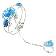 """Rosallini Woman Blue Oval Beads Decor Silver Tone Chain Ring Bracelet Rosallini. $7.42. Bracelet Girth : 21cm/ 8.3"""";Material : Plastic, Metal. Main Color : Blue, Silver Tone;Total Weight : 22g. Product Name : Finger Ring Bracelet;Ring Size : US: 6 1/2,UK: M 1/2. Package Content : 1 x Finger Ring Bracelet. Ring Inner Diameter : 16.92mm / 0.666"""";Ring Circumference : 53.1mm / 2.09"""""""