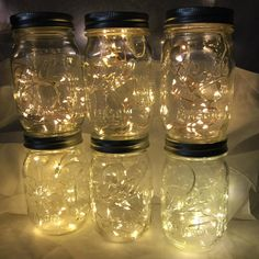 Mason Jar Lights - Fairy Lights, 10 or 20 Warm White LEDs, or long strands, Beautiful lights for decorations - wedding decor US shop Colorful Centerpieces, Wedding Centerpieces Mason Jars, Succulent Centerpieces, Centerpiece Decorations, Wedding Decorations, Wedding Ideas, Centerpiece Flowers, Anniversary Decorations, Trendy Wedding