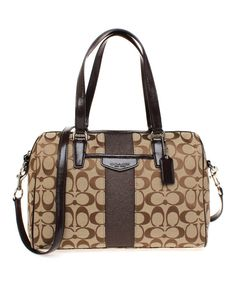 Look at this Coach Mahogany Signature Stripe Nancy Satchel on #zulily today!