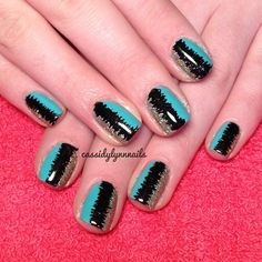 Earthquake nails using @essiedr Where's My Chauffeur?, @chinaglazeofficial Im Not Lion, and black acrylic paint!  @cassidylynnnails