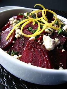 Lemon Roasted Beets with Feta- will make again. I used dried thyme and added it before baking. Next time I'll add the lemon zest with the feta. Beet Recipes, Healthy Recipes, Clean Eating Recipes, Healthy Cooking, Salad Recipes, Vegetarian Recipes, Healthy Eating, Cooking Recipes, Thm Recipes
