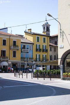 Arona, Houses on Piazza del Popolo - Lake Maggiore, Piedmont, Italy