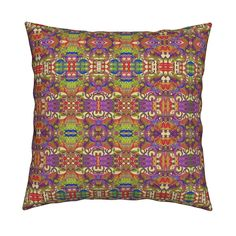 Catalan Throw Pillow featuring DINOSAURS MISHMASH BRIGHT PSYCHEDELIC by paysmage…
