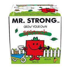 MR MEN MR STRONG GROW YOUR OWN SPINACH GIFT BOX RETRO LITTLE MISS SEEDS POT VEG