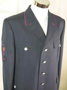 German Vintage Fire Brigade Jacket, Dark Blue Fire Department Blazer w Patches, Fire Brigade Uniform Jacket: Size 40 US/UK, Size 50 European by YouLookAmazing on Etsy