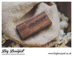 Lovely example of our engraved wooded USB sticks combined with a Natural Gift Bag - Love it!