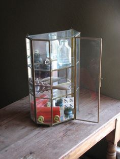 Large Vintage Br And Gl Display Case Hanging Or Standing Curio Cabinet With Mirror Miniatures