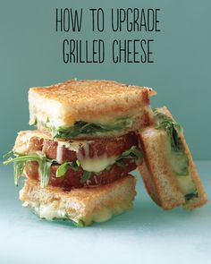 Several different types of grilled cheese piled like this could be interesting.
