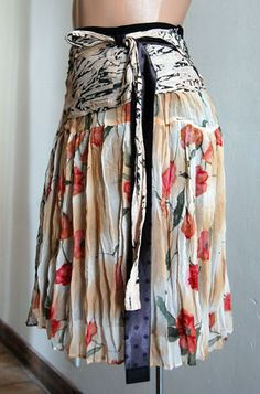Refashioned/upcycled skirt.  Not sure I'd add the extra blue sash but I like the idea.