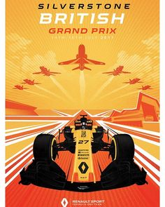 Renault Sport Team poster van Grand Prix in Engeland Cristiano Ronaldo Portugal, F1 Posters, Event Posters, Automobile, F1 2017, British Grand Prix, Monaco Grand Prix, Automotive Art, Vintage Racing