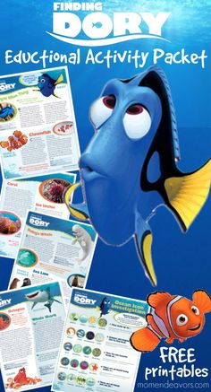 Disney Pixar Finding Dory Educational Activity Packet - free printables perfect for fun ocean reading or an ocean unit supplement for homeschool or in the classroom!